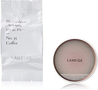 LANEIGE BB Cushion (Anti-Aging) SPF50+ PA+++, Coffee (# 35), 15g (Pack of 2)