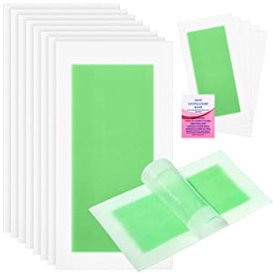 40 Pieces Wax Strips Hair Remover Wax Strip Waxing Kit at Home for Arms, Legs, Underarm Hair, Eyebrow, Bikini, Brazilian Hair Removal with 6 Pieces Calming Oil Wipes for Women Girls (Green)