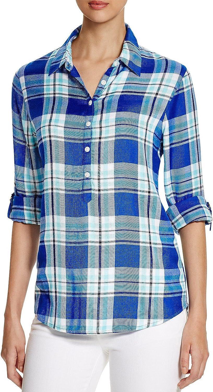 Allen Schwartz Prive Women's Plaid Half Placket Shirt bluee Aqua Size Large