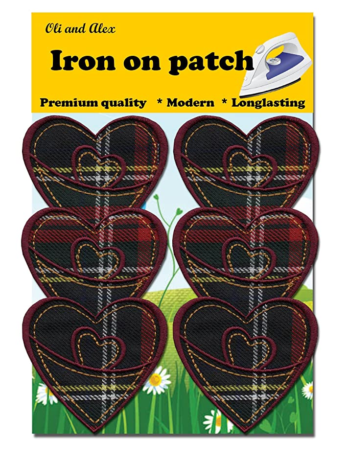 Iron On Patches - Heart Patch 6 pcs Iron On Patch Embroidered Applique A-146