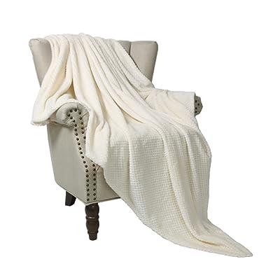 Exclusivo Mezcla Waffle Flannel Fleece Velvet Plush Large Throw Blanket – 50  x 70  (White)
