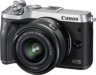 Canon EOS M6 Single Kit with EF-M 15-45mm IS STM Compact System Camera(M6KISS) 3 Inch Display,Silver (Australian warranty)