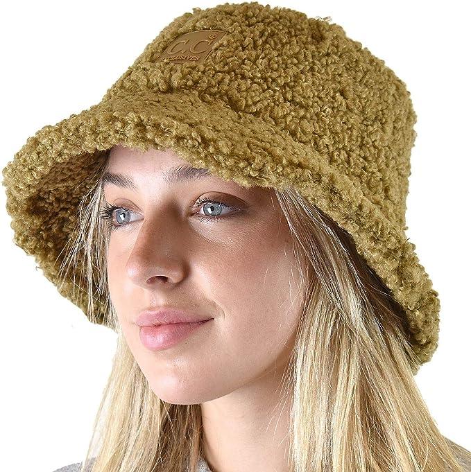 C.C Womens Winter Faux Fur Teddy Style Fisherman Bucket Hat
