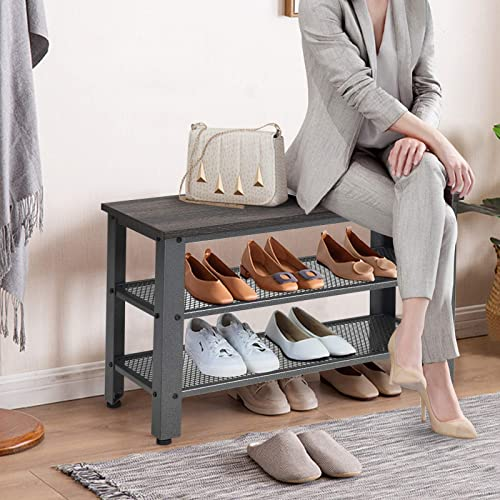 2021 Giantex 3-Tier Shoe Bench, Industrial Shoe Rack with 2 Mesh Storage Shelves for Entryway, Hallway, Bathroom or outlet sale Living Room, Shoe Organizer discount (Gray) online