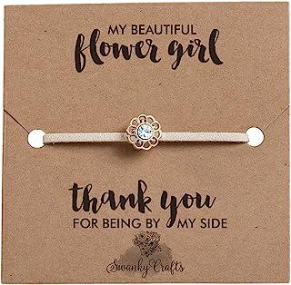 Swanky Crafts Flower Girl از هدیه عروس تشکر می کنم - دستبند دست ساز قابل تنظیم با یک کارت زیبا و زیبا ، آیا شما دختر گل من خواهید بود ، برای مطابقت با هر تم عروسی