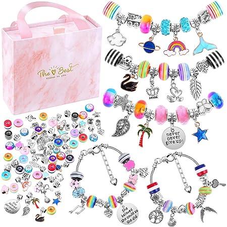 Thrilez Charm Beads Bracelet Jewelry Kit with Bracelets Beads 110 Pcs Charm Bracelets Making Kit for Girls Jewelry Charms Gift Set for Adults Kids Girls