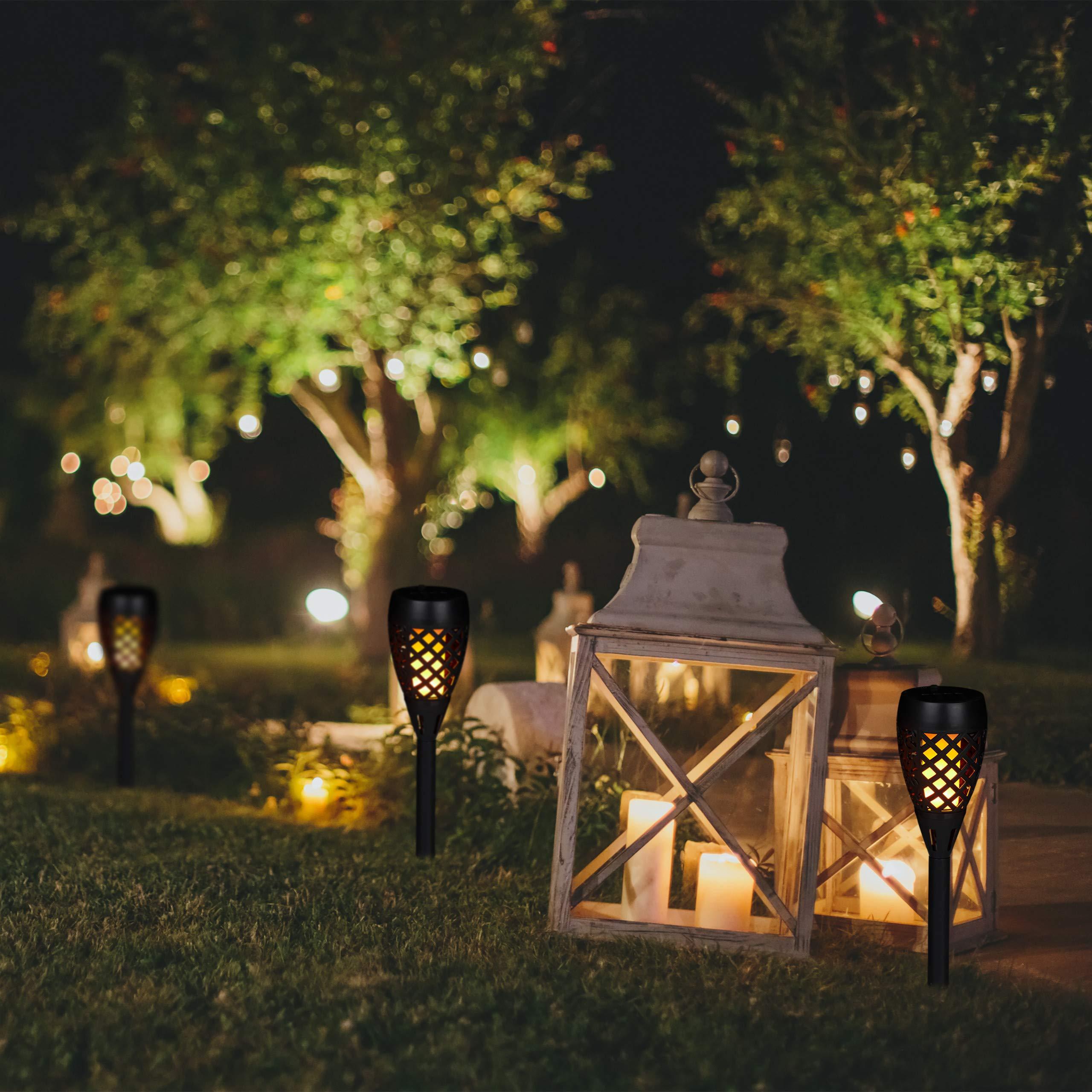 Relaxdays, Negro, Kit de 2 Antorchas Solares de Jardín para Clavar al Suelo, Plástico, 78 cm: Amazon.es: Jardín