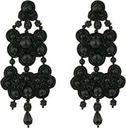 Leather-Backed Beaded Chandelier Earrings