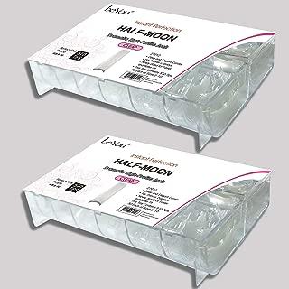 beYou 2PACK Natural/Clear Half-moon 550 Artificial Fake Nails (total 1100Tips) 11Sizes For Nail Salon Nail Shop 27010/27012 (Half-Moon)