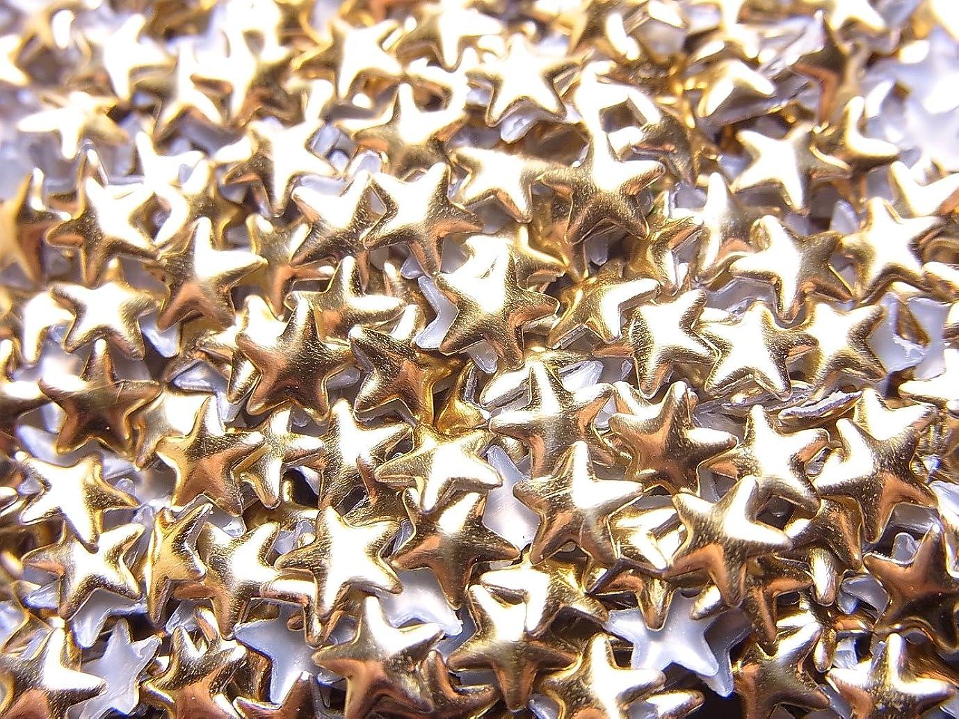 ブル特派員コースメタルスタッズ (ゴールド/シルバー)12種類から選択可能 (スター型(星)メタルスタッズ 4mm, ゴールド)