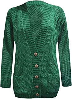Women Long Sleeve Button Top Chunky Aran Cable Knitted Ladies Grandad Cardigan