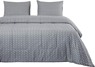 Wake In Cloud - Gray Quilt Set, Chevron Zig Zag Geometric Modern Pattern Printed on Grey, 100% Cotton Fabric with Soft Microfiber Inner Fill Bedspread Coverlet Bedding (3pcs, King Size)