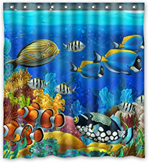 FMSHPON Sea Seabed Fish Corals Underwater Ocean Tropical Waterproof Polyester Fabric Shower Curtain 66 x 72 Inches