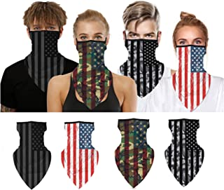 ATIMIGO Face Mask Mouth Cloth Cover Bandanas with Ear Loop Neck Gaiters Scarf for Dust Wind Motorcycle Outdoors Sports-4 Pack