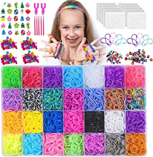NEOWEEK 11900+ Colored Rubber Bands Bracelet Making Kit, 11000 Loom Bands, 600 S-Clips, 252 Beads, 25 Charms, 10 Backpack ...