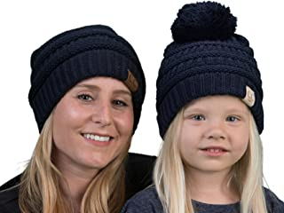 Mother(NO POM)/Daughter(POM) Winter Hat Bundle - Navy