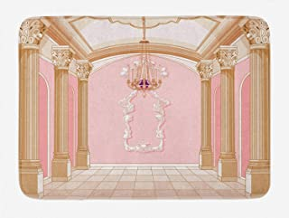 Ambesonne Princess Bath Mat, Interior of The Ballroom Magic Castle Chandelier Ceiling Columns Kingdom Print, Plush Bathroom Decor Mat with Non Slip Backing, 29.5