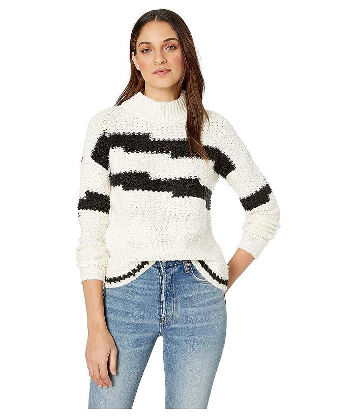 1.STATE Multi Texture Crew Neck Sweater (Antique White) Women