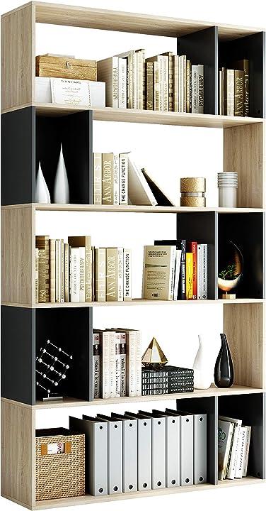 Libreria a cinque piani scaffale libreria in legno,scaffale a ripiani per soggiorno da ufficio homfa HPB-153