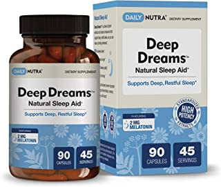 Deep Dreams Natural Sleep Aid by DailyNutra - Deep, Restful Sleep Supplement - Non-Habit Forming Sleeping Pills | with Melatonin, L-Tryptophan, Valerian, GABA, Chamomile, Passionflower (90 Capsules)