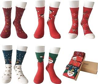 LIKERAINY, Mujeres Dama Térmicos Calcetines de Lana Navidad Tamaño Estándar 5 Pares