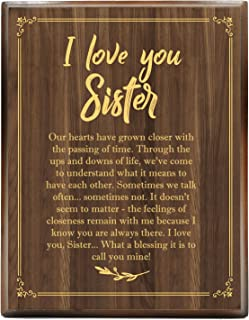 yuzi-n I Love You Sisters Engraved Gold Wood Plaque, Sisters Gifts