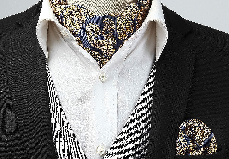 HISDERN Ensemble de mouchoirs Ascot tisses en jacquard tisse floral Cravate
