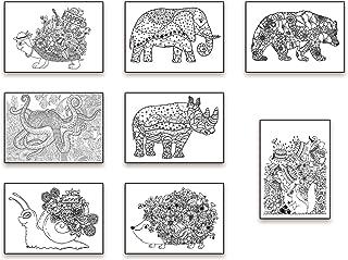 the lazy panda card company 8 Achtsamkeit Färben von Postern: Anti-Stress Kunsttherapie Postkartenset im Stil eines Malbuchs für Erwachsene gezeichnet.