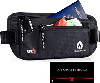 Travel Money Belt for Women and Men with GIFT PACKAGE, Hidden RFID Blocking, Secure Waterproof Waist Pouch (black)