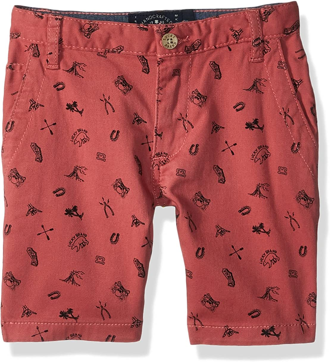 Lucky Brand Boys' Flat Front Printed Twill Shorts