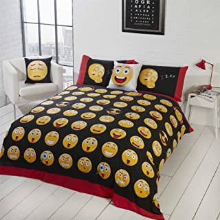 EMOJI OMG LOL HAPPY ANGRY RED WHITE BLACK COTTON BLEND USA TWIN (COMFORTER COVER 135 X 200 - UK SINGLE) (PLAIN BLACK FITTED SHEET - 91 X 191CM + 25 - UK SINGLE) 3 PIECE BEDDING SET