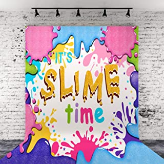 4 x 5 ft Slime Vinyl Backdrop Glitter Slime Birthday Party Photography Background for Party Decoration Photo Studio Booth Props Banner