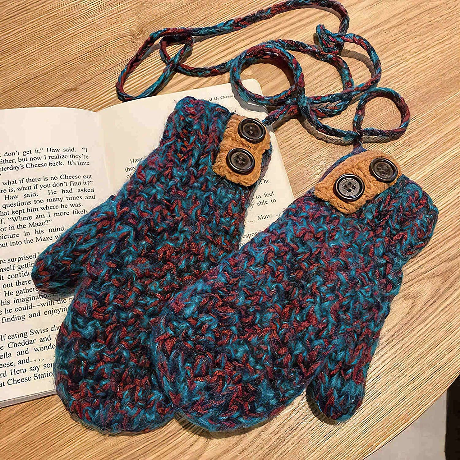 GMMDXD Mixed Color Plus Velvet Thick Knitted Woolen Gloves Women Winter Warmth and Cold Riding Halter Mittens (Color : Mixed Color 1, Size : One Size)