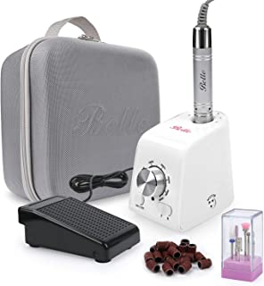 Belle Professional Vertical Electric Nail Drill, 35000 RPM Brushless Efile Manicure Pedicure Kit Drills with A Carrying Case for Acrylic Gel Nails, White