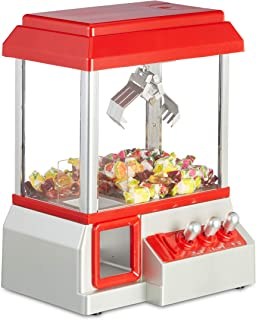 Relaxdays Candy Grabber - Máquina de garrapatas, Monedas, dispensador de Dulces con música de Carnaval, Mini Juguete de Peluche, Color Rojo