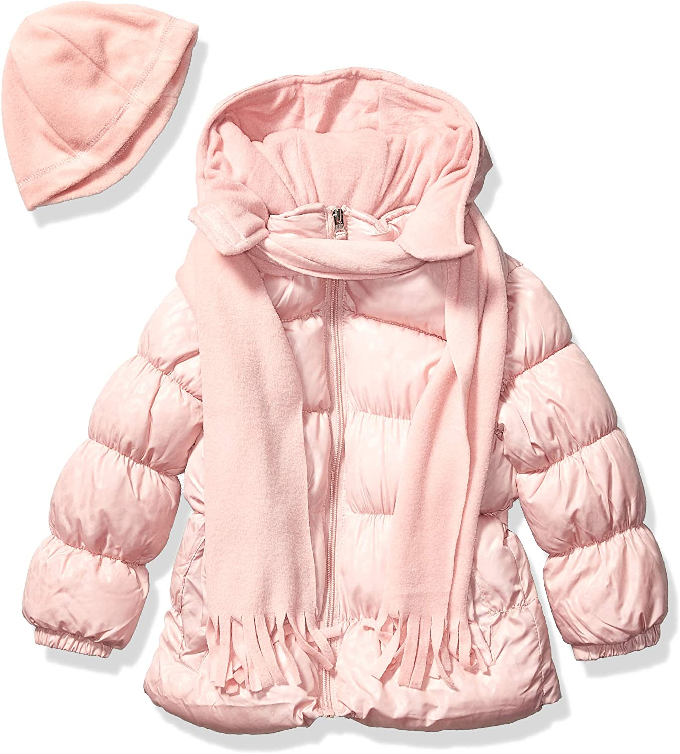 Pink Inexpensive Platinum Girls' Printed Puffer Gift with Jacket Seattle Mall