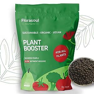 Florasoul Organic Seaweed Fertilizer for Plants 3kg Slow Release Organic Fertilizer 100% Vegan Organic Kelp Meal Use as Outdoor and Indoor Organic Plant Food. Organic Fertilizer / 3-4-18