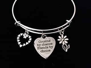 Cousins by Chance Friends by Choice Adjustable Bracelet Cousin Jewelry Expandable Charm Bangle Trendy Reunion Gift Personalization and Custom Options Available One Size Fits All Jewelry