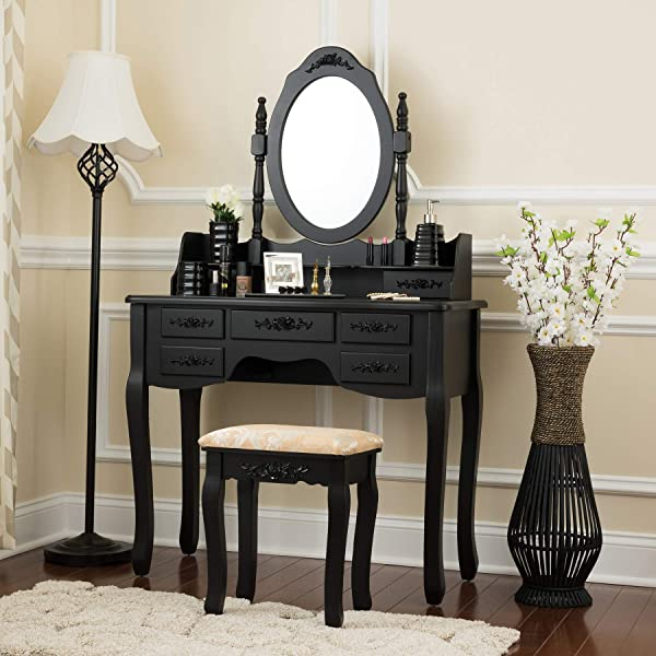 Fineboard FB VT03 BKV Stool Mirror Makeup 7 Organization Drawers Single Oval Mirror Make Up Vanity Table Set Black