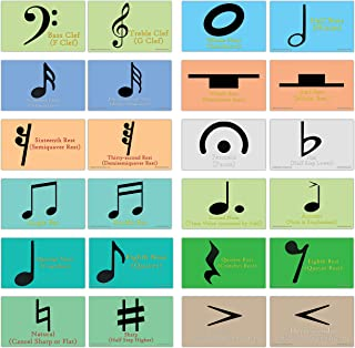 Creanoso Amazing Music Symbols Learning Cards (60-Pack) – Mini Educational Information Cards Set – Musical Gift Set for Kids, Teens, Boys & Girls - Assorted Musical Learning Educational Pack