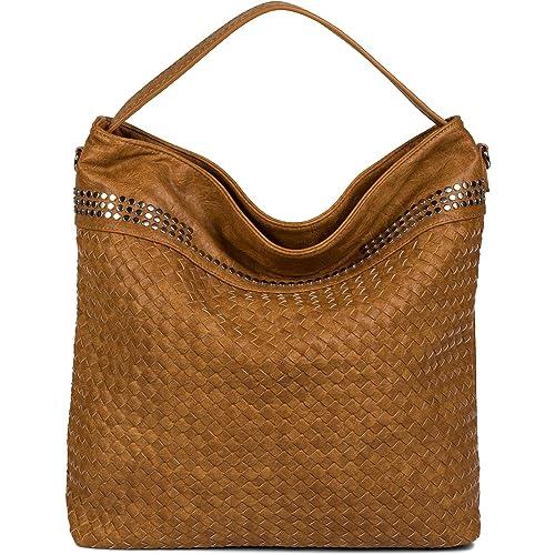 feac9d301 styleBREAKER bolso de mano tipo hobo con óptica trenzada y remaches, bolso  para compras,