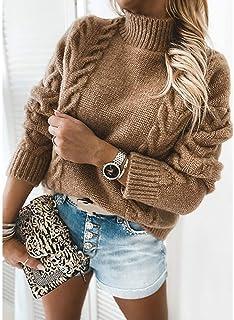 PKYGXZ Suéter de otoño e Invierno para Mujer, suéter de Manga Larga de Cuello Alto de Color sólido, Jersey Informal, Sudad...