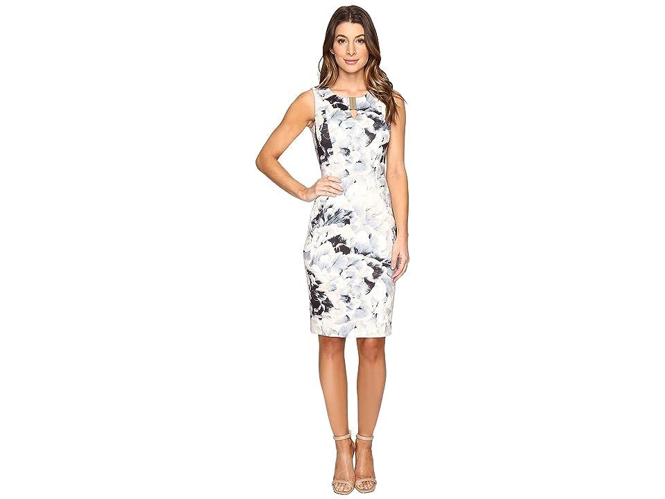 Calvin Klein Printed Sheath w/ Hardware Dress (Latte/Soft White Combo) Women