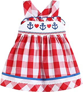 Lil Cactus Girls Red Gingham Smocked Americana Nautical with Hearts Dress