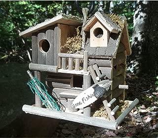 Hot Sale! BIRDHOUSE: Gone Fishing Wood Log Cabin Bird House NEW
