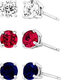 3 3/8 ct Created Ruby, Blue & White Sapphire Stud Earring Set in Sterling Silver