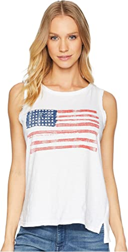 American Flag Sleeveless Slub Tank Top