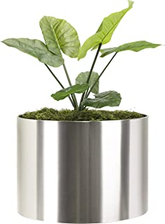 Modern Large Planter Round Knox Brushed Stainless Steel Planter Best XL Extra Large Metal Planter Indoor Outdoor Pot 24