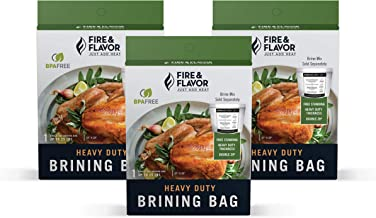 Fire & Flavor Zip Top Disposable Brining Bag for Easy Turkey Meals, 21 X 22 Inches, Pack of 3