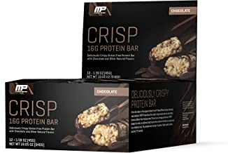 MusclePharm Crisp Protein Bar, 16 Grams of Protein, Delicious Protein Bar, Banned-Substance Tested, Chocolate, Non-GMO, Gluten-Free, Low in Sugar and Carbs, 12 Servings